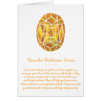 November Birthstone Citrine Birthday Watercolor Card