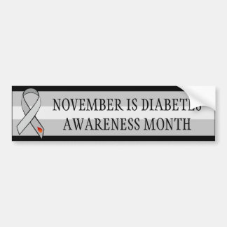 November Diabetes Awareness Awareness Month Ribbon Bumper Sticker