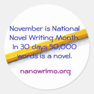 November is National Novel Writing Month Round Sticker