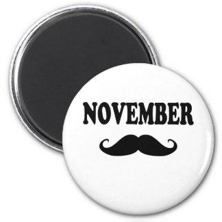 November Moustache!!! 6 Cm Round Magnet