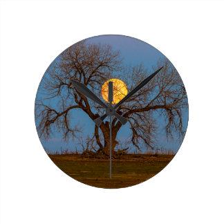 November Supermoon Tree Round Clock