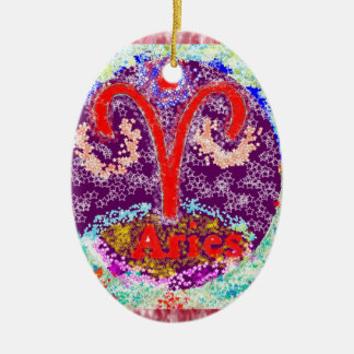 NOVINO Aries Zodiac & Heart Chakra other side Double-Sided Oval Ceramic Christmas Ornament