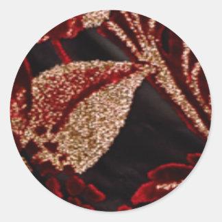NOVINO Zazzling Golden Leaf Round Sticker