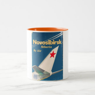 Novosibirsk Siberia soviet union flight poster Two-Tone Coffee Mug