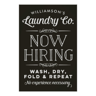 Now Hiring Fun Personalized Laundry Room Print