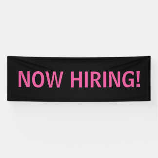 Now hiring simple pink black banner sign