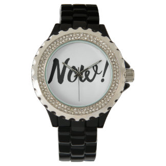 Now is the time! Modern Black Typography Watch