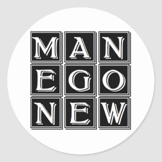 Now new man classic round sticker