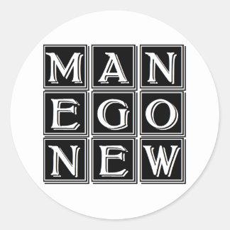 Now new man round sticker
