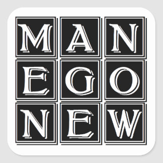 Now new man square sticker