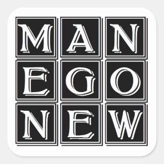 Now new man square sticker