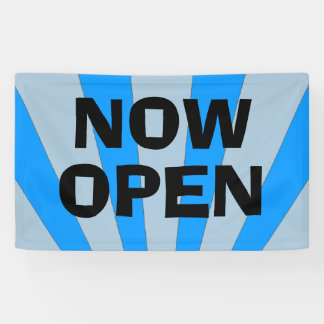Now Open blue black banner sign