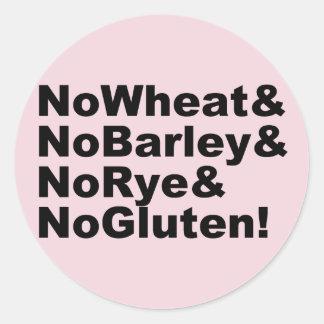 NoWheat&NoBarley&NoRye&NoGluten! (blk) Classic Round Sticker