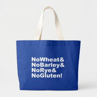 NoWheat&NoBarley&NoRye&NoGluten! (wht) Large Tote Bag