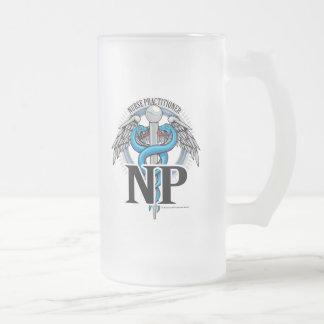 NP Blue Caduceus Frosted Glass Beer Mug