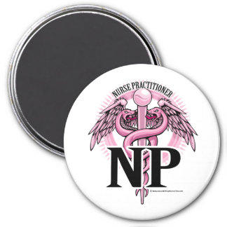 NP PINK Caduceus 7.5 Cm Round Magnet