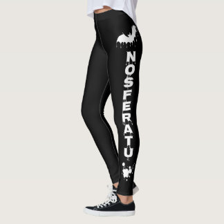 Nu Goth Gothic white on Black Love Dracula Vampire Leggings