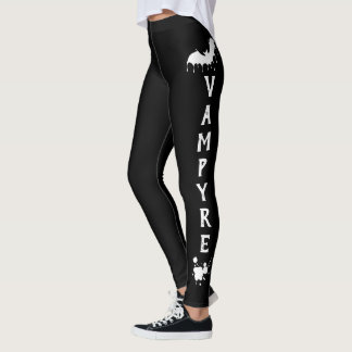 Nu Goth Gothic white on Black Vampire Love heart Leggings