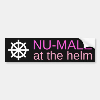 NU-MALE at the helm (Pinks) Bumper Sticker
