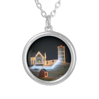 Nubble Light all dressed up for the Holidays Silver Plated Necklace