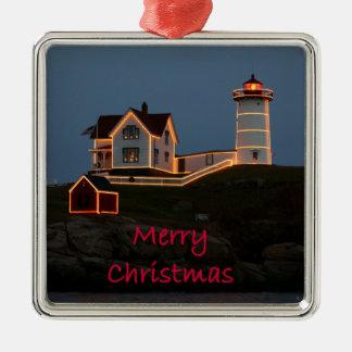 Nubble Light Christmas Metal Ornament