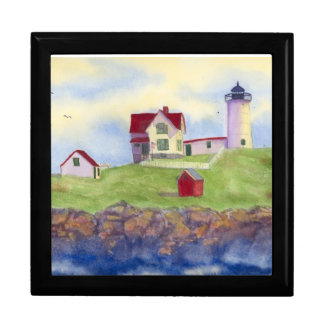 Nubble Light House York Maine Large Square Gift Box