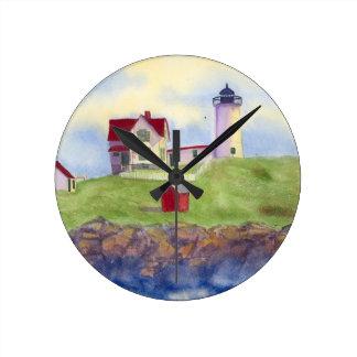 Nubble Light House York Maine Round Clock