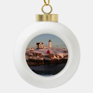 Nubble Light winter sunset Ceramic Ball Christmas Ornament