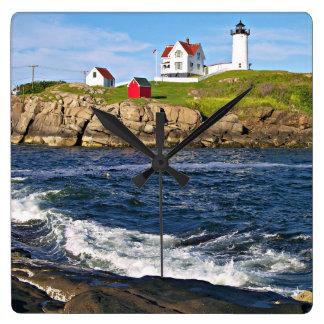 Nubble Lighthouse, Cape Neddick Maine Square Wall Clock