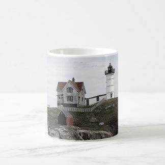 Nubble Lighthouse Sketch Basic White Mug