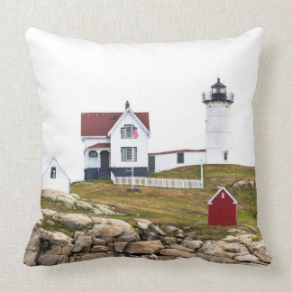 Nubble Lighthouse Square Throw Pillow