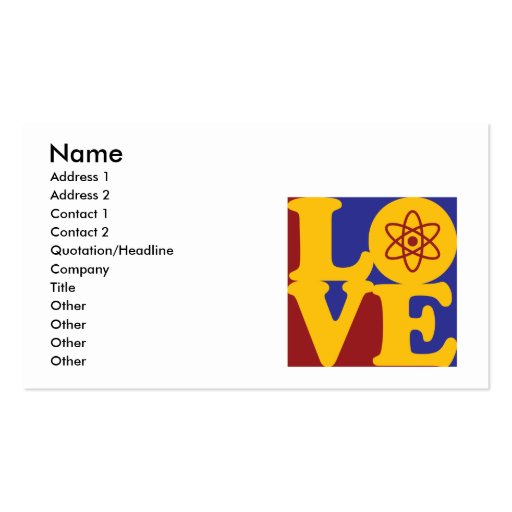 Nuclear Engineering Love Business Card