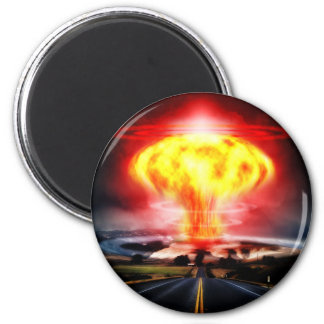 Nuclear explosion mushroom cloud illustration 6 cm round magnet