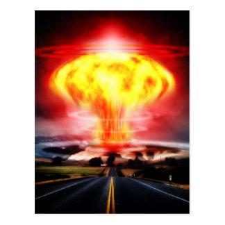 Nuclear explosion mushroom cloud illustration post card