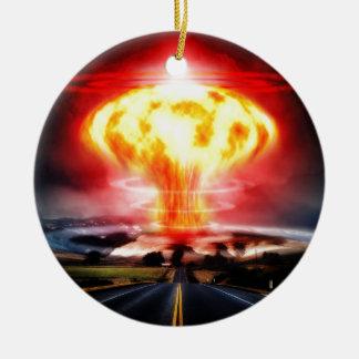 Nuclear explosion mushroom cloud illustration round ceramic decoration