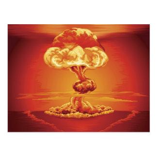 Nuclear explosion mushroom cloud postcard