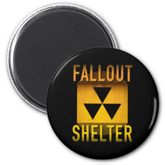 Nuclear Fallout Shelter Retro Atomic Age Grunge : 6 Cm Round Magnet