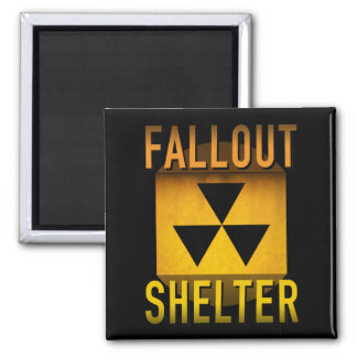 Nuclear Fallout Shelter Retro Atomic Age Grunge : Square Magnet