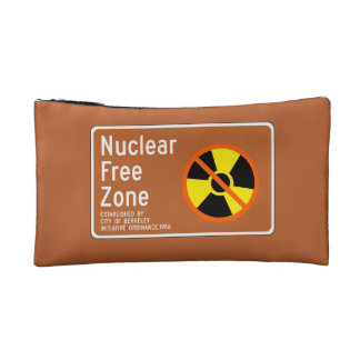 Nuclear Free Zone, Sign, California, US Makeup Bags