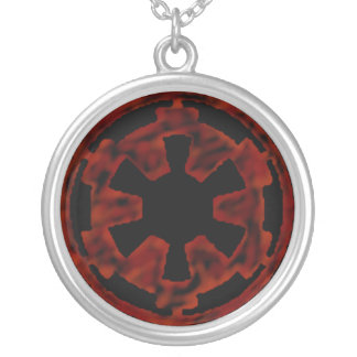 Nuclear Retro-action (RED) Silver Plated Necklace