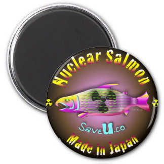 Nuclear Salmon 6 Cm Round Magnet