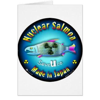 Nuclear Salmon blue Greeting Card