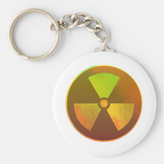 Nuclear Symbol Radioactive Glow Basic Round Button Key Ring