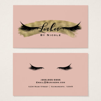 Nude Blush Pink & Gold Modern Glam Lashes Eyelash Business Card