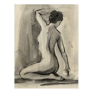 Nude Sketch of Female Body by Ethan Harper Postcard