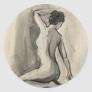 Nude Sketch of Female Body by Ethan Harper Round Sticker
