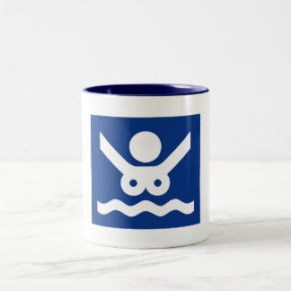 Nudist beach Sign (2), Norway Two-Tone Coffee Mug