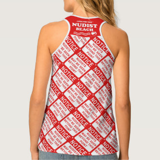 Nudist Beach Sign Print Tank Top