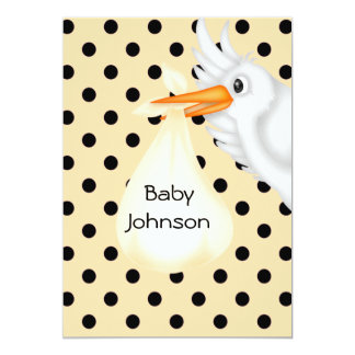 Nuetral Personalised Stork Baby Shower  Invitation