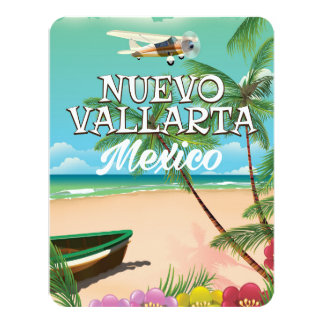 Nuevo Vallarta Mexico beach travel poster 11 Cm X 14 Cm Invitation Card